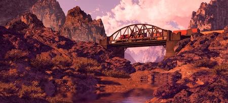 A Southwest landscape with steel arched bridge and diesel locomotive.