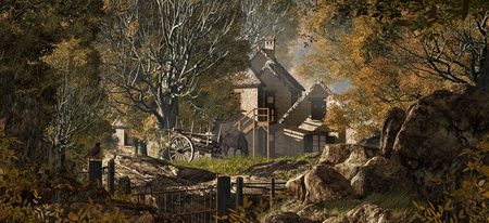 An old country farm house with cart, set in a fall woodland scene.