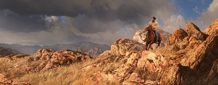 An old west scene of a cowboy riding his horse, with a rainstorm off in the distance. Stock Photo
