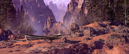 Weathered rowboat on rocky coastline inlet. Stock Photo