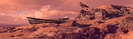 Weathered rowboat and seagull on rocky coastline.