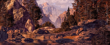 A landscape scene of a canoe in a rocky mountain canyon. Stock Photo
