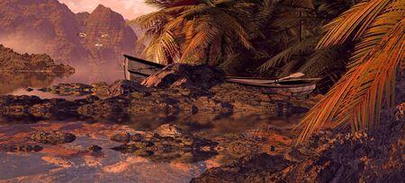 Weathered rowboat on tropical island lagoon.