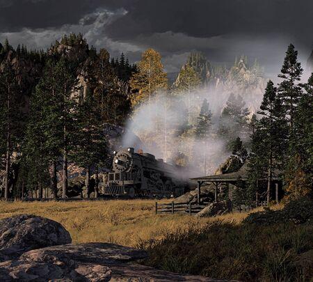 locomotora: Rodando a trav�s de las monta�as rocosas con una tormenta de truenos acercarse a locomotora de vapor.