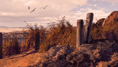 A seascape scene with weathered wharf posts and fence on rocky coastline. Original illustrative composition Stock Photo