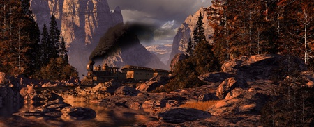 Old west stream locomotive rolling through a rocky mountain canyon. Original illustrative composition Stock Photo