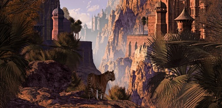 A landscape in India of a mountainous canyon with gothic castles, date palms and a Bengal tiger. Original illustrative composition Фото со стока