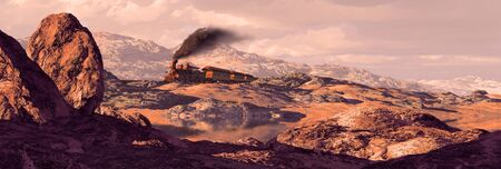 Old west steam locomotive rolling through a rocky Southwest landscape. Original illustrative composition, created by me using Vue 3D software.
