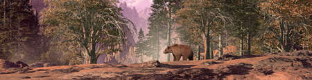Grizzly bear walking through a forest in the Rocky Mountains. Original illustrative composition, created by me using Vue 3D software.