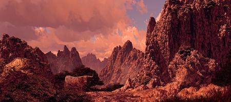 Longhorn steer in rocky ravine in a Southwest landscape. Original illustrative composition, created by me using Vue 3D software.