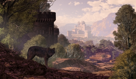 A wolf coming out of the woods with a gothic castle off in the distance and in the foreground part of a castle with lake and rowboat. Original illustrative composition, created by me using Vue 3D software. photo