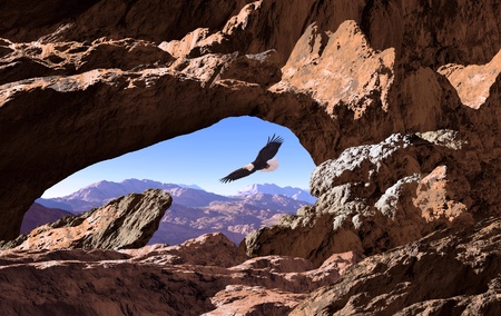 Looking through a hole in a rock formation at a bald eagle soaring in the Southwest. Original illustrative composition, created by me using Vue 3D software.