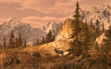 alce: Alce nel paesaggio paese alto Rocky Mountain. Composizione illustrativi originale, creato da me utilizzando software 3D Vue.