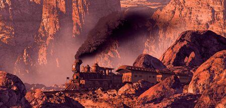 locomotora: Antiguo tren de Occidente rodando por un ca��n del suroeste con formaciones rocosas se�aladas por el luz de sol de la ma�ana.