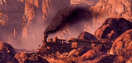 steam locomotives: Old west train rolling through a Southwest canyon with rock formations brought out by the morning sun light. Stock Photo