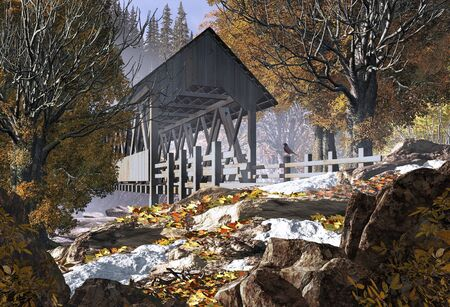 An old covered bridge in the fall season with patches of snow and a robin.  Stock Photo