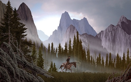 A Rocky Mountain landscape scene with cowboy.  photo