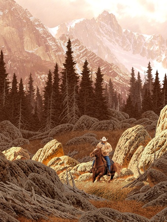 A landscape scene of a rancher riding his horse, in the Rocky Mountains.