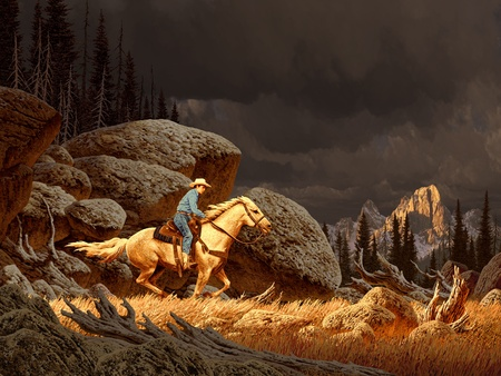 cowboy on horse: A Rocky Mountain landscape scene with cowboy and storm in distance.
