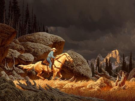 vaquero: Una escena de paisaje de las monta�as rocosas con vaquero y tormenta en la distancia.