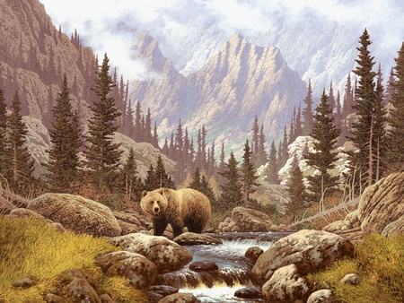A landscape scene of a grizzly bear in the Rocky Mountains.