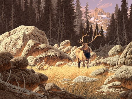 illustrative: A bull elk set in a Rocky Mountain landscape scene. Hand painted original illustrative composition. Stock Photo
