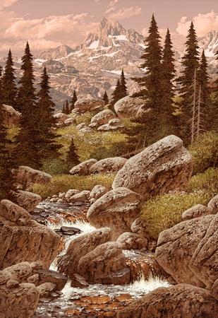 A landscape scene of a Rocky Mountain stream in Colorado.