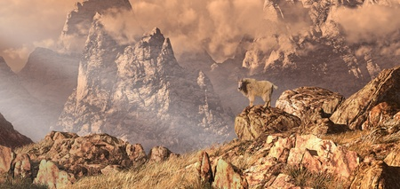 Mountain goat in a Rocky Mountain landscape. Original illustrative composition, created by me using Vue 3D software. Stock Photo