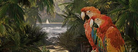 A tropical scene of a island coastline with two macaws and sailboat. Original illustrative composition, created by me using Vue 3D software. Stock Photo