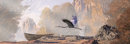 A landscape scene with lake, a weathered rowboat and a great blue heron in flight. Original illustrative composition, created by me using Vue 3D software. photo