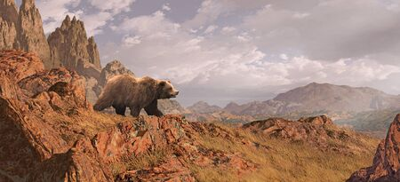 Landscape scene with grizzly bear descending down rocky mountain side. Original illustrative composition, created by me using Vue 3D software.