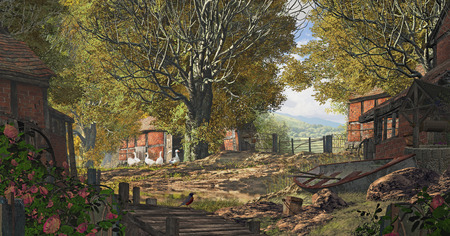 An old country farm scene placed in Yorkshire England, with brick barns, geese and rowboat