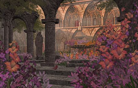An old Monastery courtyard garden, with statue, flowers and fountain  Stock Photo