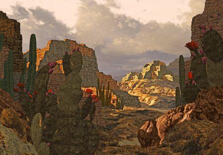 Abandon Southwest ancient Pueblo Indian dwellings Banco de Imagens - 24698631