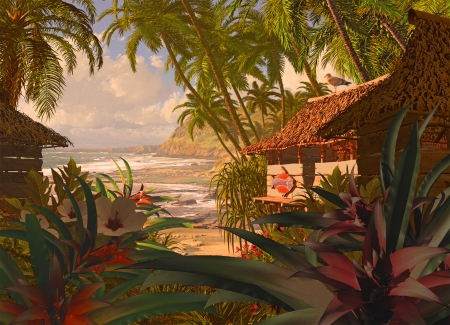 A South Pacific coastline scene, with beach hut, tropical plants and coconut palms  Stock Photo