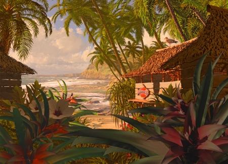 A South Pacific Küste Szene, mit Strandhütte, tropischen Pflanzen und Kokospalmen Standard-Bild - 24698632