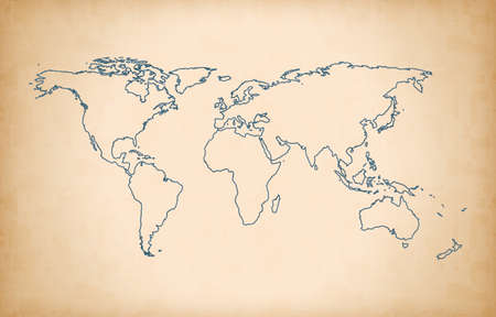 vintage outline world map background Stock Photo