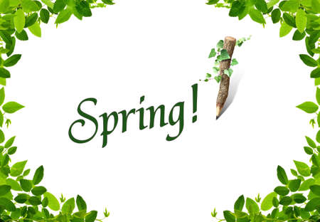 spring word whit nice green frames stock photo picture and royalty