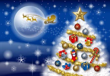 Christmas card with chrismas tree and santa claus