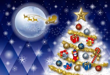 Christmas card with chrismas tree and santa claus  photo