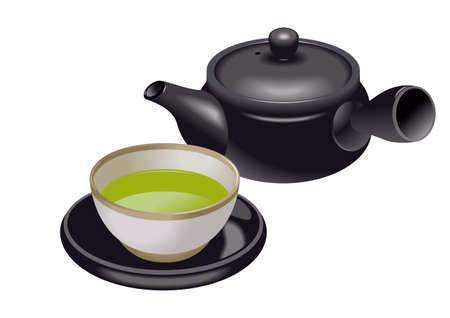 chinese medicine: Green tea isolated in white