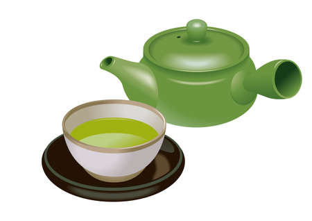 traditional chinese medicine: Green tea isolated in white