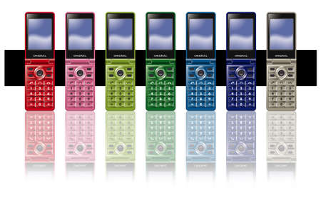 flip phone: Mobile phone,7colors Stock Photo