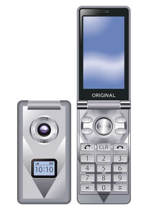 gsm: Mobile phone,silver Stock Photo