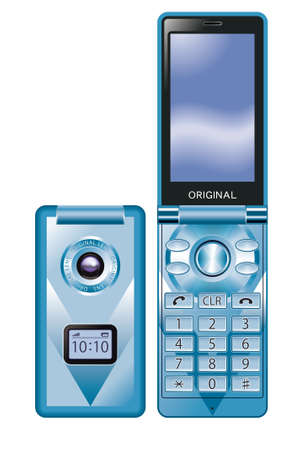 flip phone: Mobile phone,blue Stock Photo