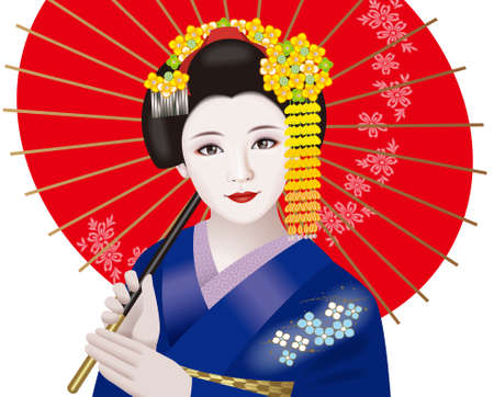 Geisha and Japanese umbrella Stock Photo