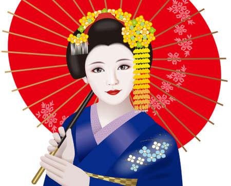 Geisha and Japanese umbrella photo