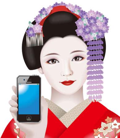 Geisha and mobile phone photo