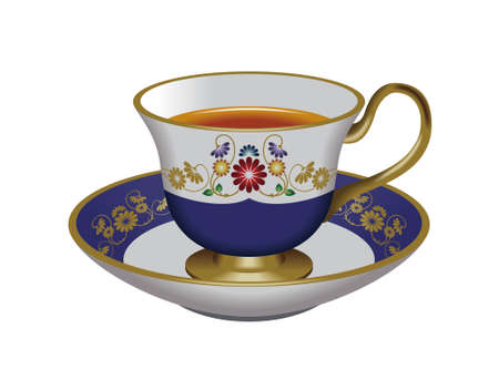 oolong: Teacup and saucer,blue Stock Photo