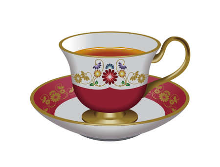 oolong: Teacup and saucer,red